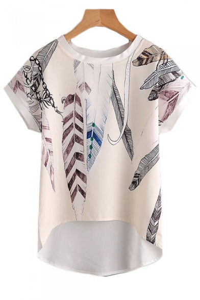 Baycheer / Feather Printed Round Neck Short Sleeve Dip Hem Blouse
