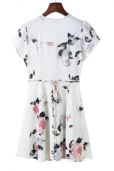 Floral Printed V Neck Short Sleeve Tie Waist Mini A-Line Dress