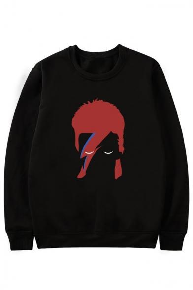 Round Long Style Printed Hop Hip Sweatshirt Neck Sleeve Character pYvUwYnRx