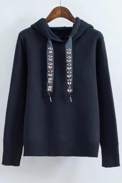 Jewelry Embellished Drawstring Long Sleeve Leisure Hoodie