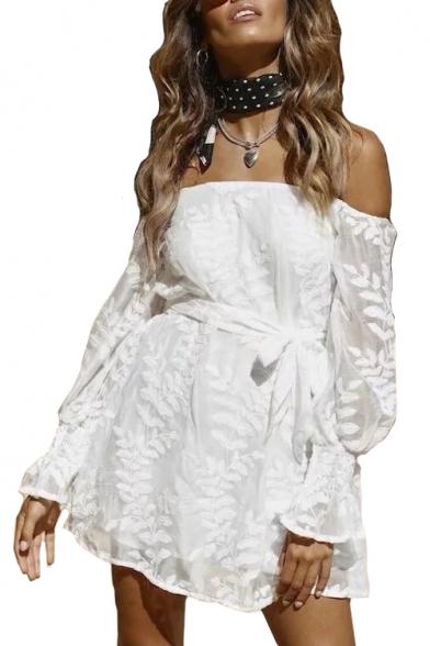 Leaf Jacquard Off The Shoulder Long Sleeve Mini A-Line Dress
