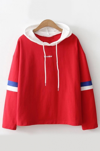 Letter Leisure Block Sleeve Long Color Embroidered Hoodie 67dx7PqR