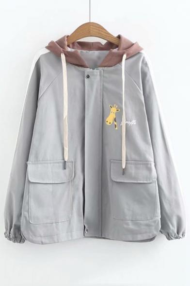 Letter Giraffe Printed Color Block Long Sleeve Zip Up Hooded Coat