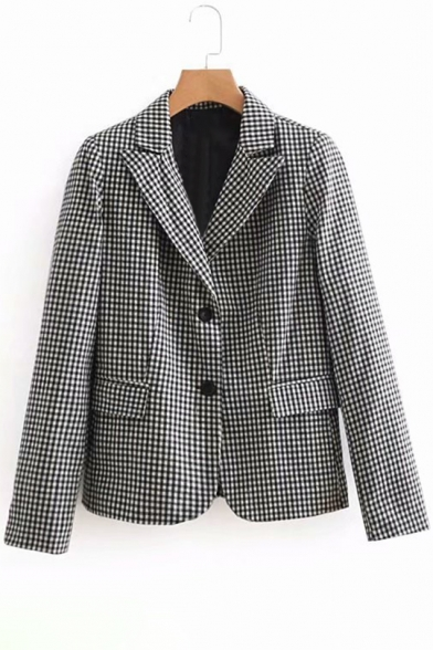 Notched Lapel Collar Plaid Printed Long Sleeve Double Buttons Blazer