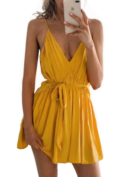 Plain Spaghetti Straps Sleeveless Sexy Mini Cami Dress