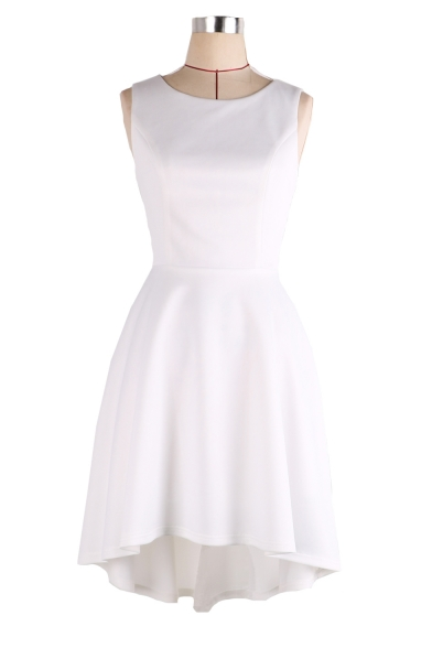 Round Neck Sleeveless Plain Midi Asymmetric Dress