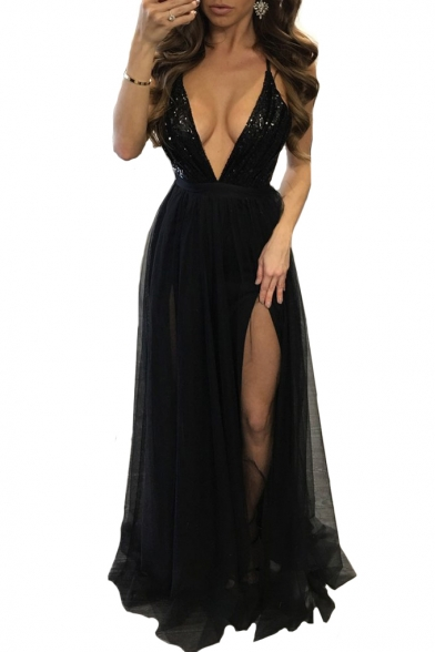 Party Sequined Back Maxi Neck Mesh Patchwork Hollow Crisscross Out Plunge Cami Dress wwBxqSR4