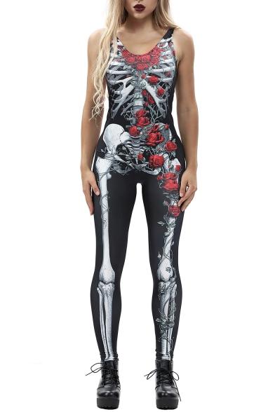 Slim Skull Floral Printed Round Neck Sleeveless Jumpsuit