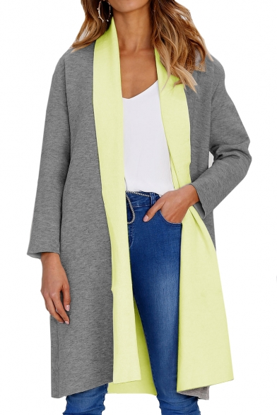 Trendy Lapel Collar Long Sleeve Tunic Coat