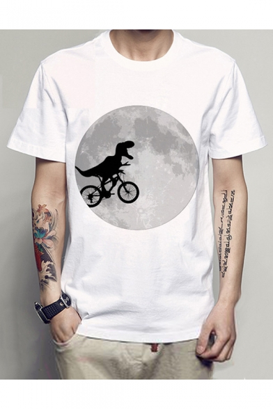Printed Moon Tee Bicycling Round Short Dinosaur Sleeve Neck 5pqZwEA