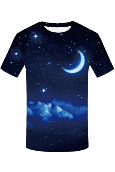 Star Tee Round Short Moon Sleeve Neck Printed Digital PdUqU
