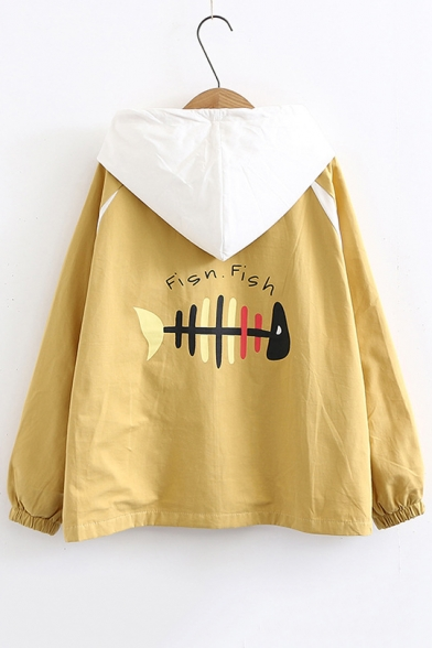 Fish Bone Printed Long Sleeve Zip Up Hooded Coat with Flap Pockets