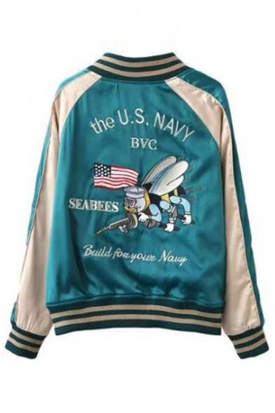 Zip Reversible Jacket Color Block Up Letter Animal Collar Baseball Embroidered Stand Sleeve Long Up PXxYzP