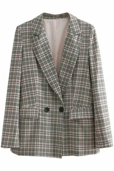 Plaid Printed Notched Lapel Collar Long Sleeve Double Buttons Loose Tunic Blazer
