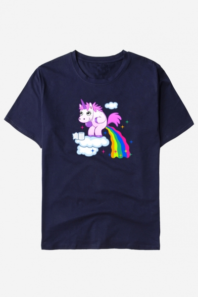 Tee Unicorn Unisex Printed Neck Round Rainbow Short Sleeve W0nqdZwYw