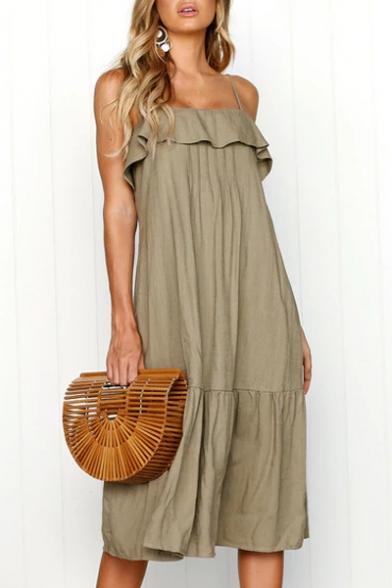 Dress Straps Ruffle Spaghetti Cami Sleeveless Midi Detail Plain xx4TqP1