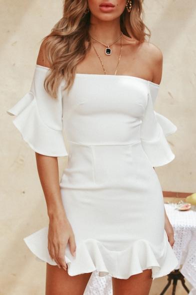 Ruffle Trim Off The Shoulder Half Sleeve Mini Pencil Dress