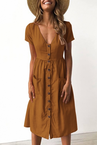 top-rated official elegant and graceful hot-selling professional Short Sleeve V Neck Button Down Plain Midi A-Line Dress with Pockets