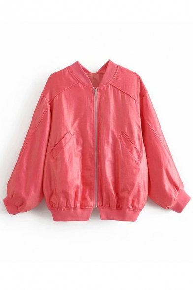 7a7af90a6 Stand Up Collar Zipper Back Long Sleeve Zip Up Plain Jacket -  Beautifulhalo.com