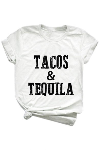 Neck Tee Short Loose Round TEQUILA Letter Sleeve Printed TACOS qI80I