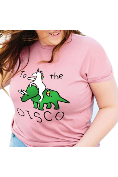 Unicorn TO THE DISCO Letter Printed Round Neck Short Sleeve Tee