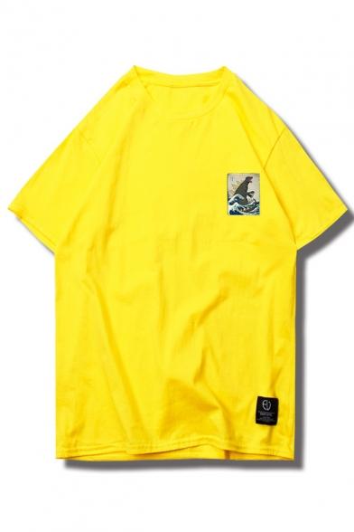 Neck Round Short Printed Dinosaur Wave Tee Sleeve q8xTHEwtP