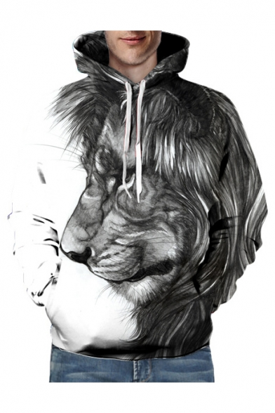 Printed Leisure Long 3D Block Color Sleeve Lion Hoodie qvzxBgCwx