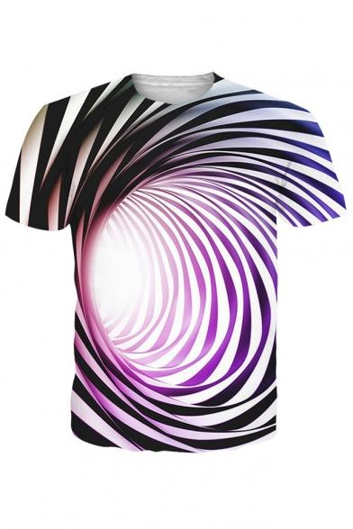 3D Stripe Swirl Printed Round Neck Short Sleeve Tee