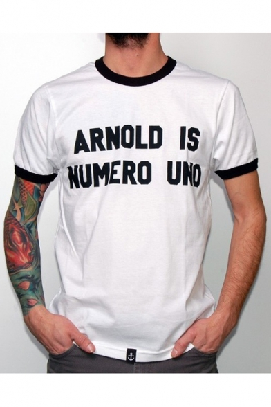ARNOLD Letter Printed Contrast Trim Round Neck Short Sleeve Leisure Tee
