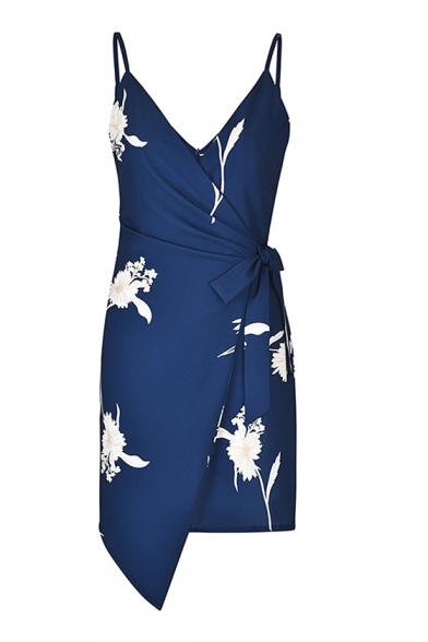 Bow Tie Waist Floral Printed Spaghetti Straps Sleeveless Mini Asymmetric Dress