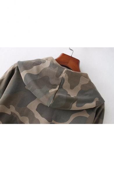 Camouflage Printed Long Sleeve Chic Crop Hoodie