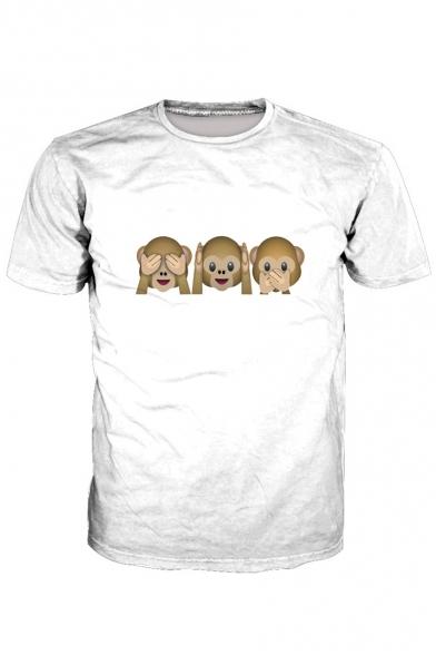 Tee Emoji Short Round Sleeve Cartoon Neck Monkey Printed qPCx8nPwa0