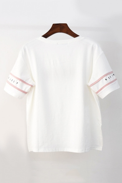 Printed Sleeve Short Letter Round Cat Embroidered Tee Neck Applique HOqatBp