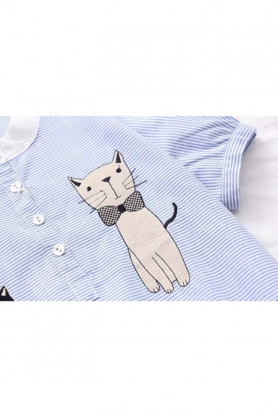 Cat Embroidered Stand Up Collar Striped Printed Short Sleeve Blouse