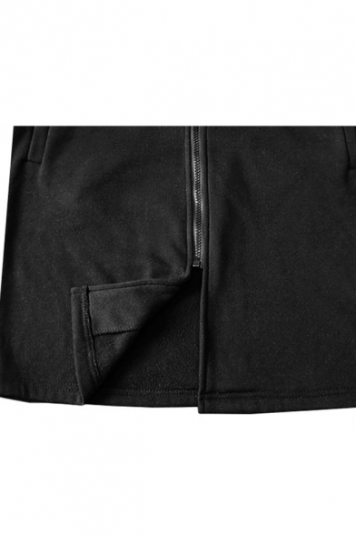 Contrast Letter Printed Striped Long Sleeve Slim Zip Up Tunic Hoodie