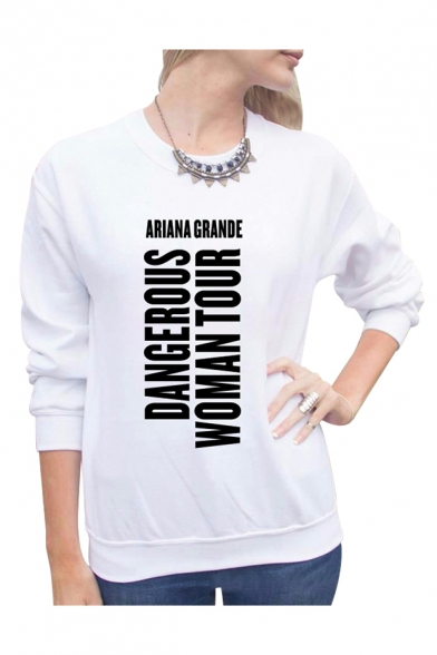 Sweatshirt Letter Printed TOUR Round WOMAN Neck Sleeve DANGEROUS Long S8qw6n