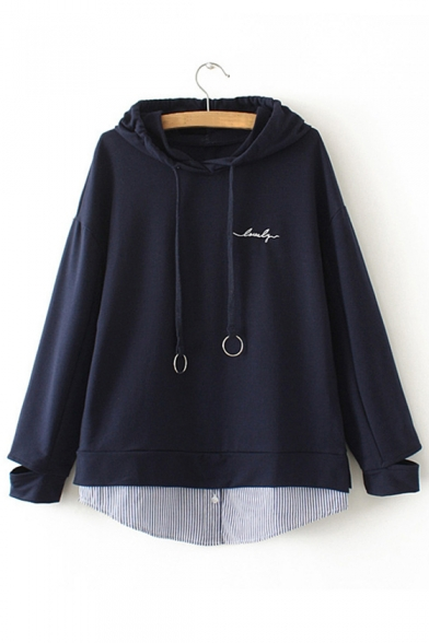 Fake Letter Loose Sleeve Striped Pieces Patchwork Embroidered Long Hoodie Two Printed zrXzq