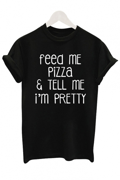 Leisure FEED Short Letter Neck Round PIZZA ME Sleeve Tee Printed 8n8Ogr4q