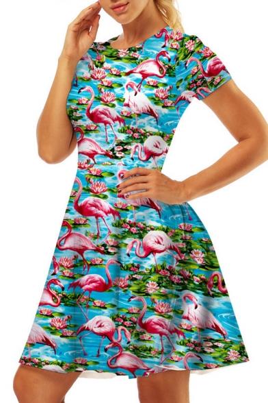 Flamingo Printed Round Neck Short Sleeve Mini A-Line Dress