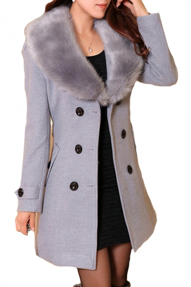 Fur Collar Long Sleeve Double Breasted Plain Tunic Woolen Coat