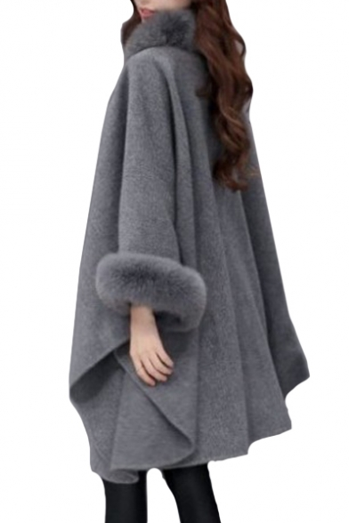 Fur Trim Embellished Long Sleeve Plain Loose Warm Cape Coat