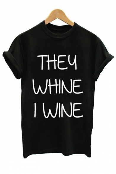 Short WHINE Letter Neck Leisure I THEY Tee Round Sleeve WINE Printed HxT86T