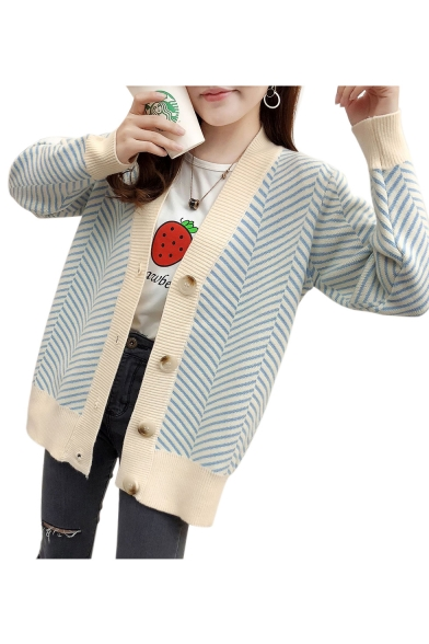Leisure Striped Printed Long Sleeve Button Down Cardigan LC479516 фото