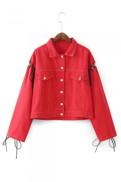 Letter Printed Back Lace Up Detail Button Down Lapel Collar Denim Jacket