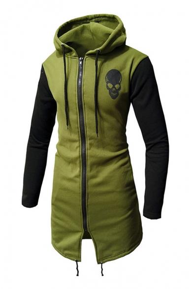 Skull Printed Long Sleeve Color Block Tunic Zip Up Hoodie