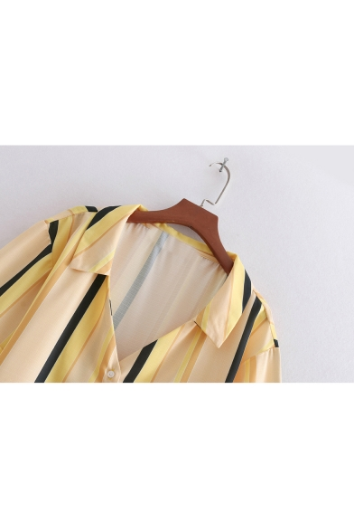 Striped Printed Lapel Collar Short Sleeve Button Down Chic Shirt