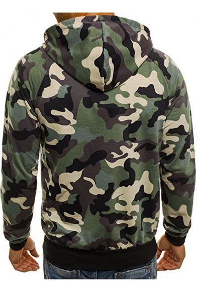 Hoodie Printed Embellished Camouflage Zip Sleeve Up Long Zipper x0wHq8x