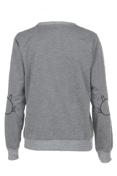 Neck Long Embroidered Round Cat Sweatshirt Sleeve qUTIa4
