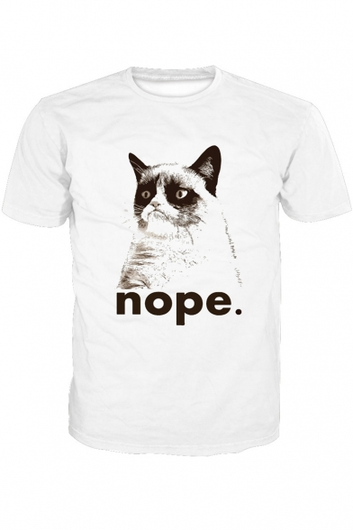 Tee Letter Sleeve Neck NOPE Printed Cat Round Short UH0g0x