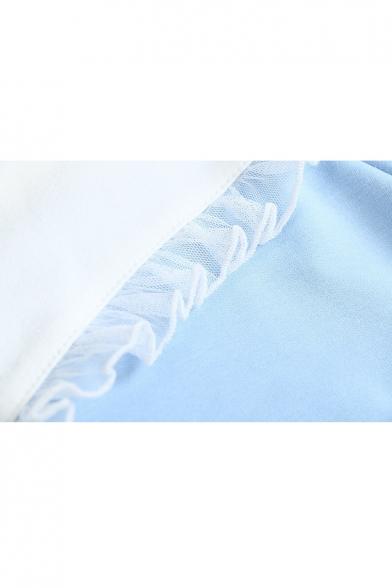 Pullover Leisure Color Block Balloon Sleeve Pattern Heart Long Sweatshirt xxvgq0Ow